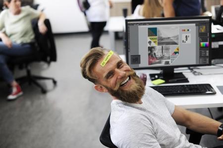 coworker laughing fun people